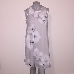 Calvin Klein gray floral flowy sleeveless dress